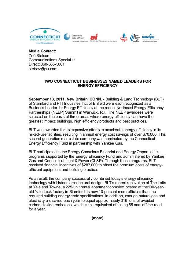 Marvelous Connecticut Businesses Named Energy Efficiency Leaders. Media Contact: Zoë  Stetson Communications Specialist Direct: 860 665 5061 Stetsez@ ...