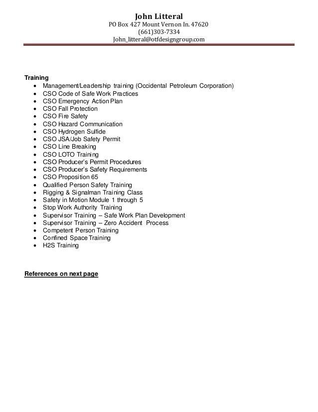 John Litteral PO Box 427 Mount Vernon In. 47620 (661)303-7334 John_litteral@otfdesigngroup.com Training  Management/Leade...