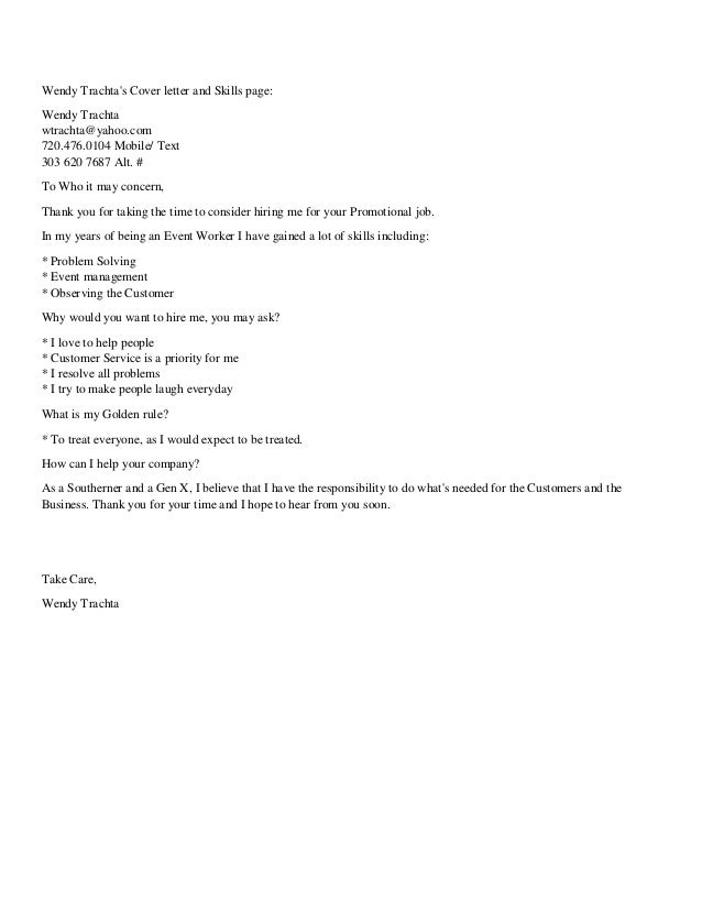 Wendy Trachta Short Cover Letter And Skills Page Pdf