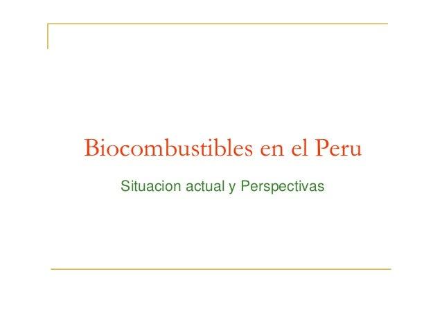 Biocombustibles en el PeruBiocombustibles en el Peru Situacion actual y Perspectivas