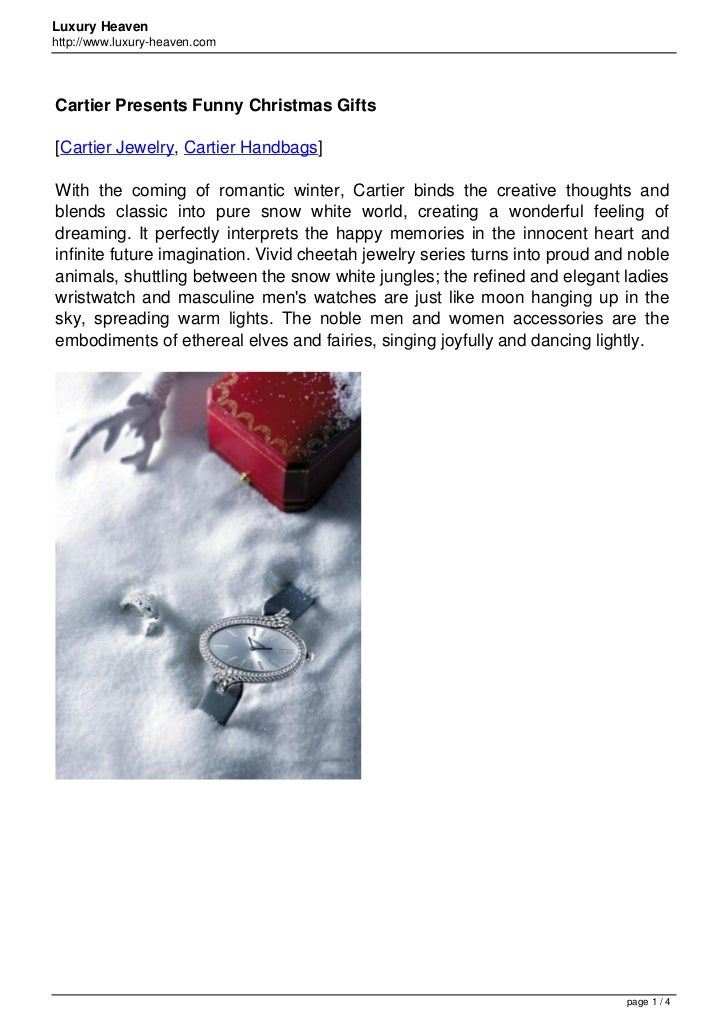 Luxury Heavenhttp://www.luxury-heaven.comCartier Presents Funny Christmas Gifts[Cartier Jewelry, Cartier Handbags]With the...