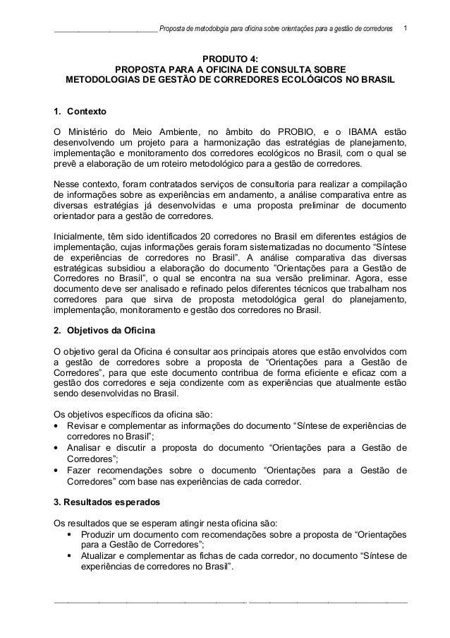 ______________________________ Proposta de metodologia para oficina sobre orientações para a gestão de corredores PRODUTO ...