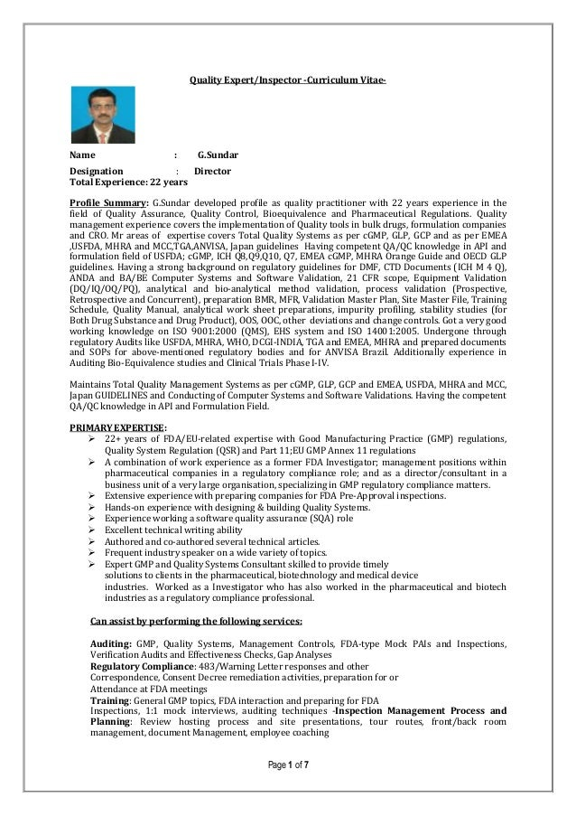 Quality Auditor and trainerProfile-G.sundar