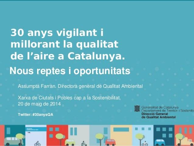 30 anys vigilant i millorant la qualitat de l'aire a Catalunya. Nous reptes i oportunitats. 30 anys vigilant i millorant l...