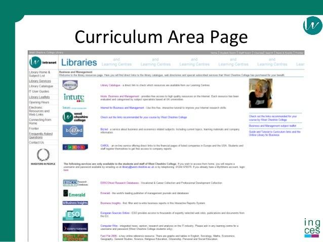 Curriculum Area Page