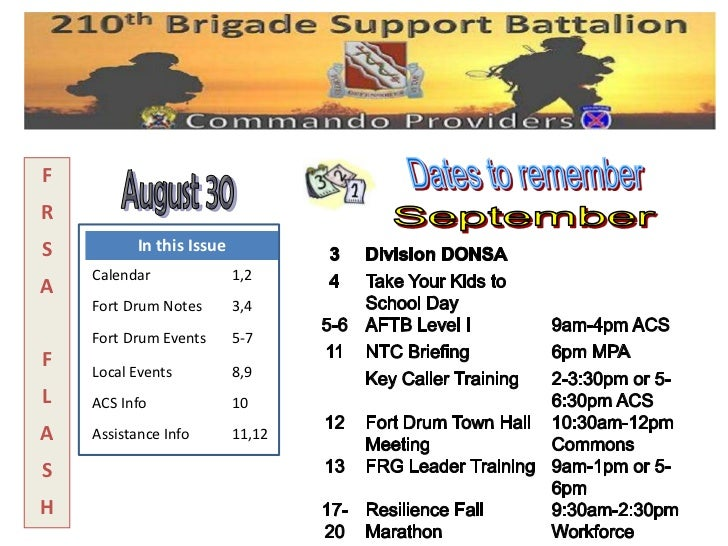 FRS         In this Issue    Calendar              1,2A    Fort Drum Notes       3,4    Fort Drum Events      5-7F   Local...