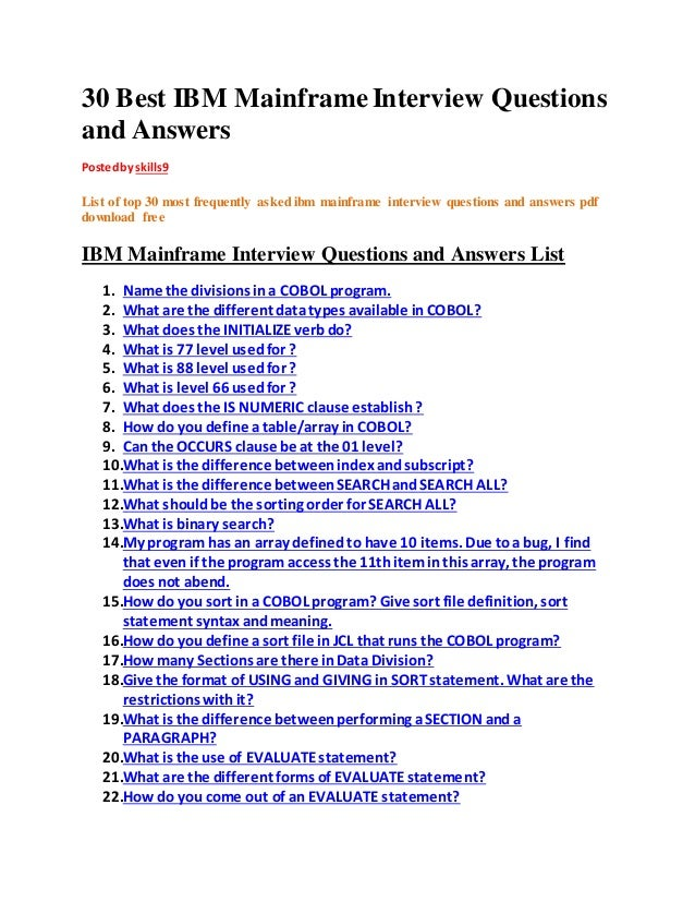 Cobol Interview Questions Pdf