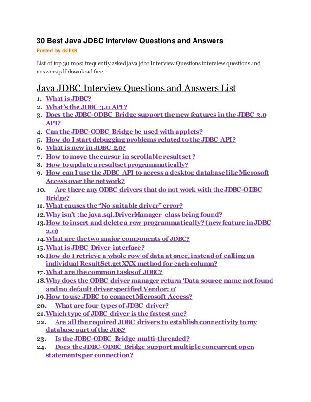 java jdbc interview questions