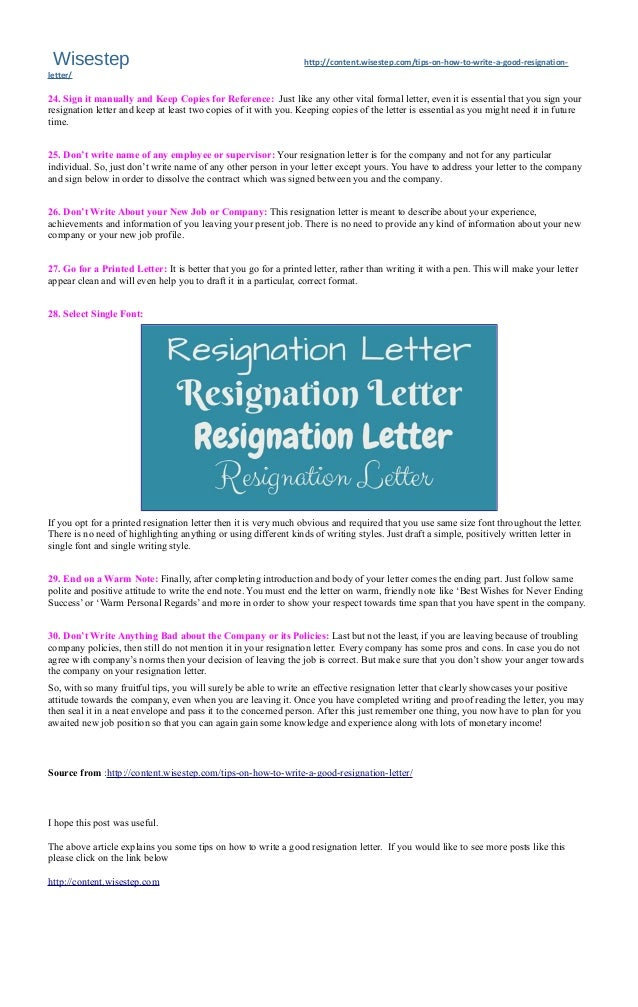 30 Best #Tips on How to #Write a Good #Resignation #Letter - #WiseStep