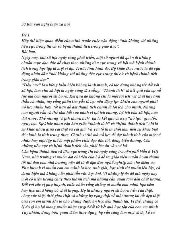 """30 Bài văn nghị luận xã hộiĐề 1Hãy thể hiện quan điểm của mình trước cuộc vận động: """"nói không với nhữngtiêu cực trong thi..."""