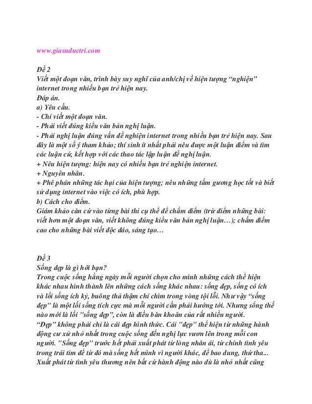 """www.giasuductri.comĐề 2Viết một đoạn văn, trình bày suy nghĩ của anh/chị về hiện tượng """"nghiện""""internet trong nhiều bạn tr..."""