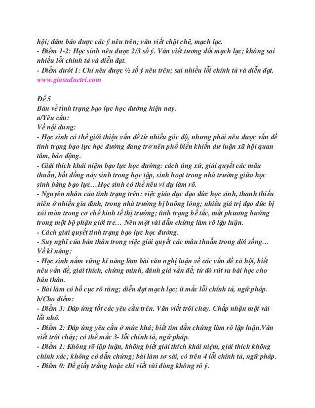 hội; đảm bảo được các ý nêu trên; văn viết chặt chẽ, mạch lạc.- Điểm 1-2: Học sinh nêu được 2/3 số ý. Văn viết tương đối m...
