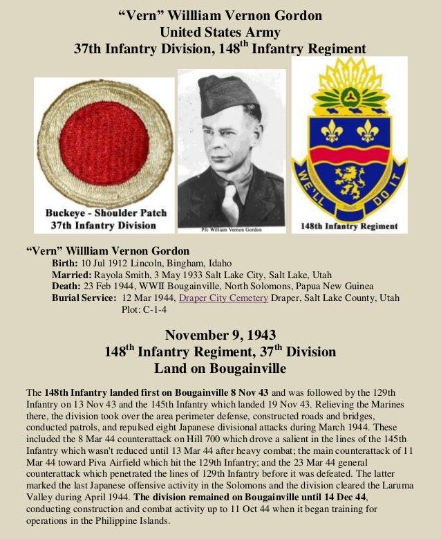 """Vern"" Willliam Vernon Gordon United States Army 37th Infantry Division, 148th Infantry Regiment ""Vern"" Willliam Vernon Go..."