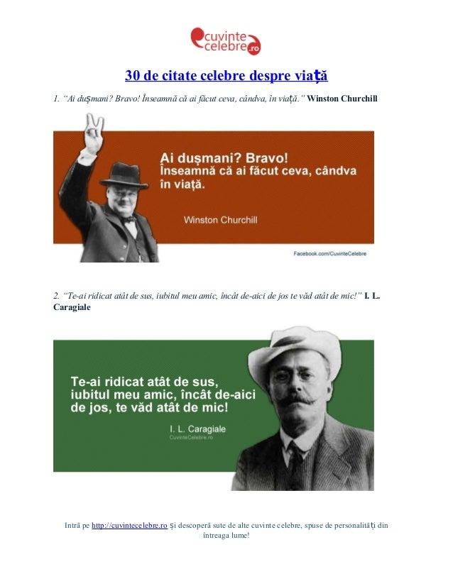 """30 de citate celebre despre viață1. """"Ai dușmani? Bravo! Înseamnă că ai făcut ceva, cândva, în viață."""" Winston Churchill2. ..."""