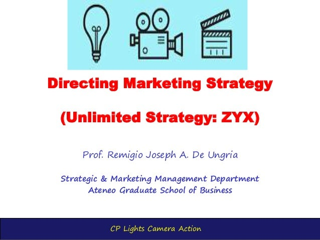 CP Lights Camera Action Directing Marketing Strategy (Unlimited Strategy: ZYX) Prof. Remigio Joseph A. De Ungria Strategic...