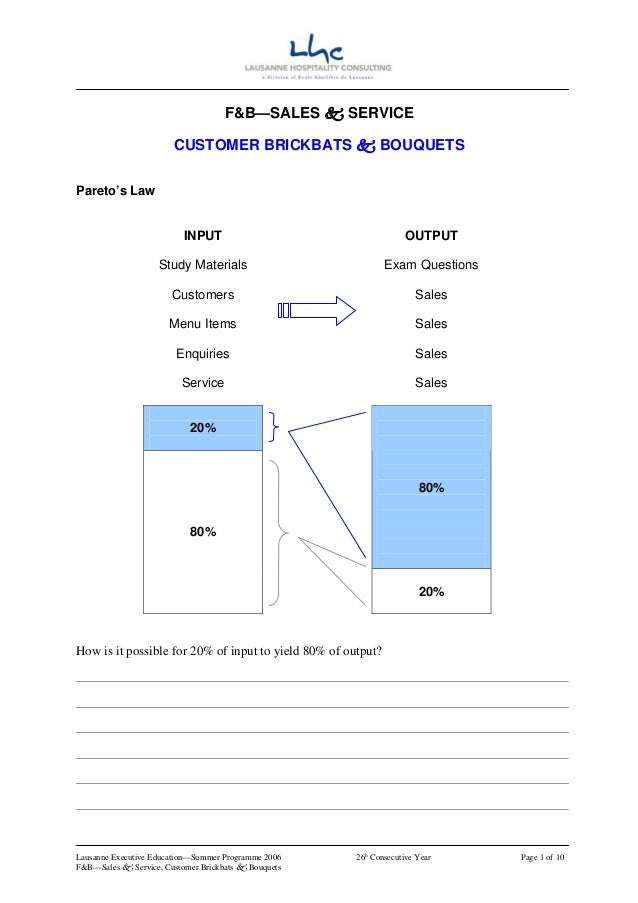 F&B—SALES         SERVICE                        CUSTOMER BRICKBATS                  BOUQUETSPareto's Law                 ...