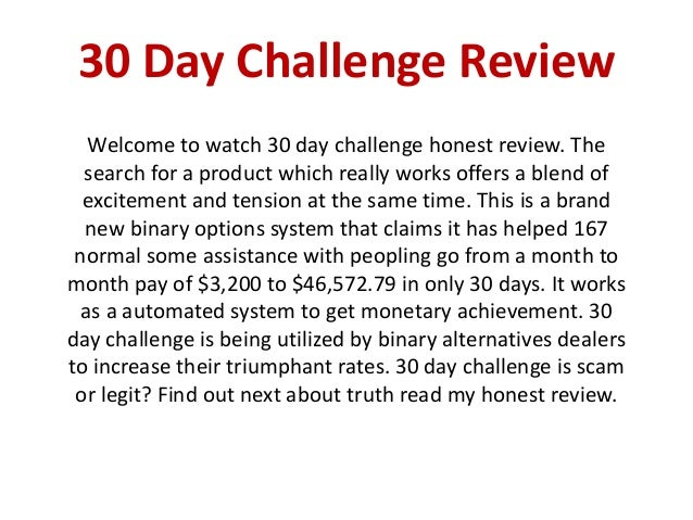 30 days challenge review is it scam binary options
