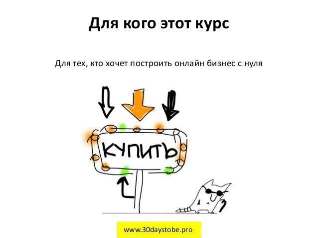 Для кого этот курс Для тех, кто хочет построить онлайн бизнес с нуля www.30daystobe.pro