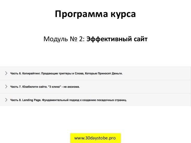 Программа курса Модуль № 2: Эффективный сайт www.30daystobe.pro