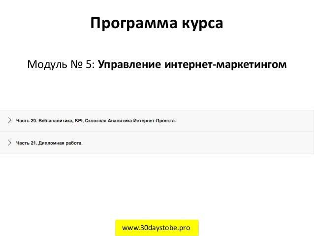 Программа курса Модуль № 5: Управление интернет-маркетингом www.30daystobe.pro