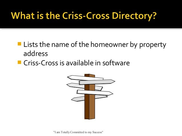 """ Lists the name of the homeowner by property  address  Criss-Cross is available in software  """"I am Totally Committed to ..."""