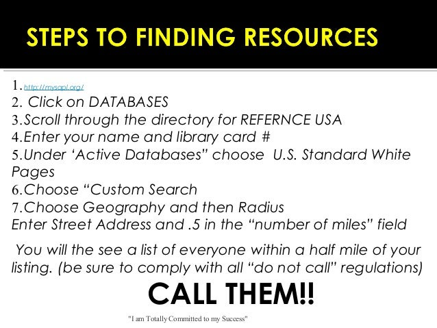 1. http://mysapl.org/ 2. Click on DATABASES 3. Scroll through the directory for REFERNCE USA 4. Enter your name and libr...