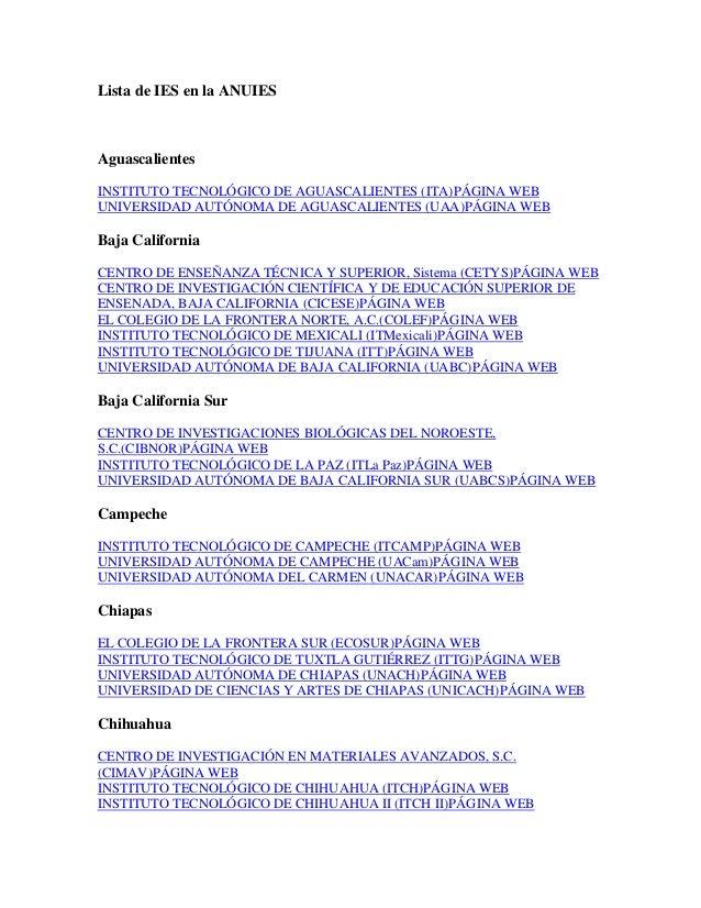 Lista de IES en la ANUIES Aguascalientes INSTITUTO TECNOLÓGICO DE AGUASCALIENTES (ITA)PÁGINA WEB UNIVERSIDAD AUTÓNOMA DE A...