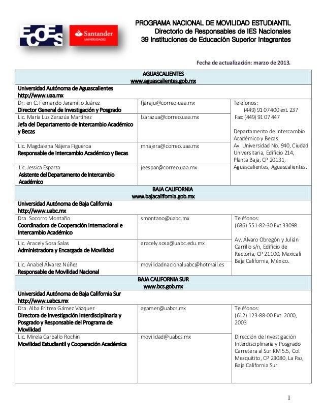 PROGRAMA NACIONAL DE MOVILIDAD ESTUDIANTIL Directorio de Responsables de IES Nacionales 39 Instituciones de Educación Supe...