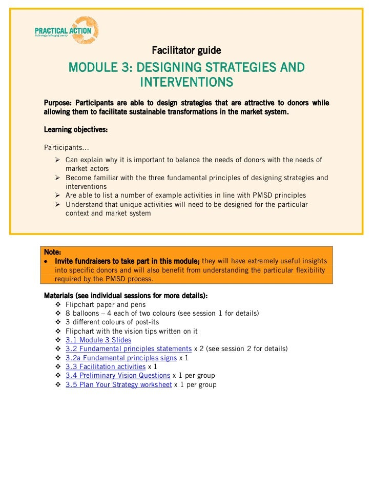 Facilitator guide       MODULE 3: DESIGNING STRATEGIES AND                 INTERVENTIONSPurpose: Participants are able to ...
