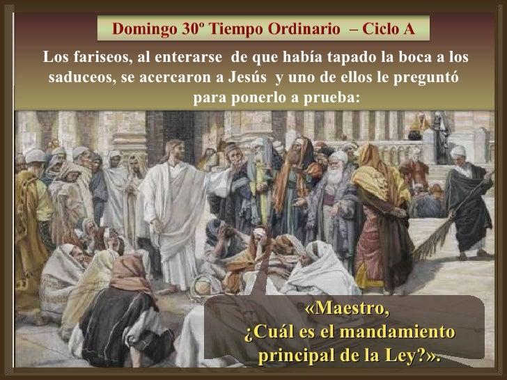 «Maestro,  ¿Cuál es el mandamiento principal de la Ley?». Los fariseos, al enterarse  de que había tapado la boca a los sa...