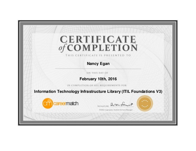certificate technology completion itil infrastructure