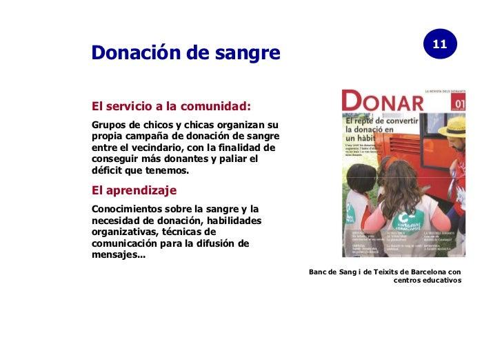 11Donación de sangreEl servicio a la comunidad:Grupos de chicos y chicas organizan supropia campaña de donación de sangree...