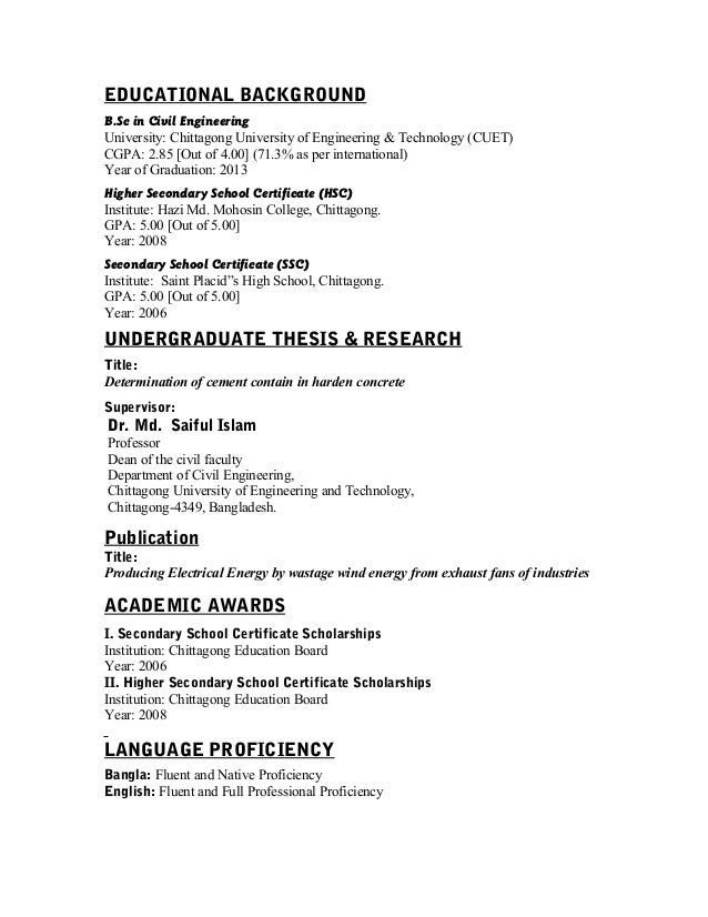 resume of ratul with pic with signature