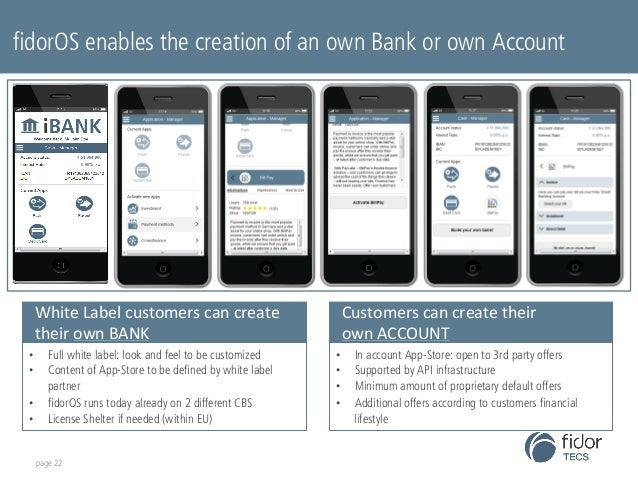 fidorOS enables the creation of an own Bank or own Account  White  Label  customers  can  create  their  own  BANK  • Full...