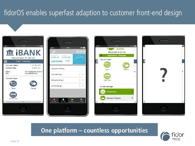 fidorOS enables superfast adaption to customer front-end design  page 23  ?  One platform – countless opportunities