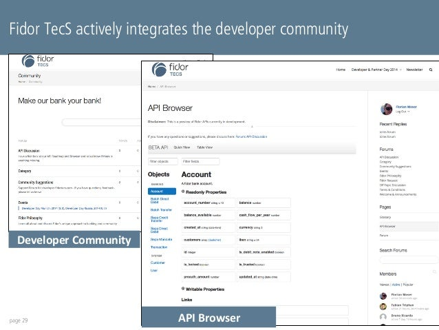 Fidor TecS actively integrates the developer community  Developer  Community  page 29  API  Browser