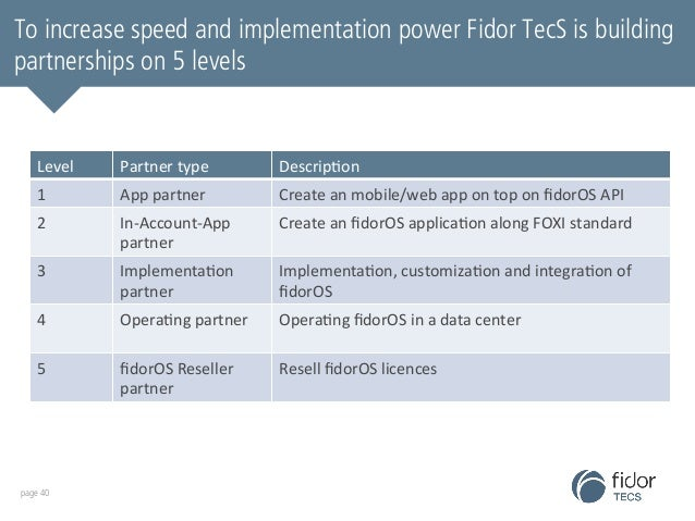 To increase speed and implementation power Fidor TecS is building  partnerships on 5 levels  Level  Partner  type  Descrip...