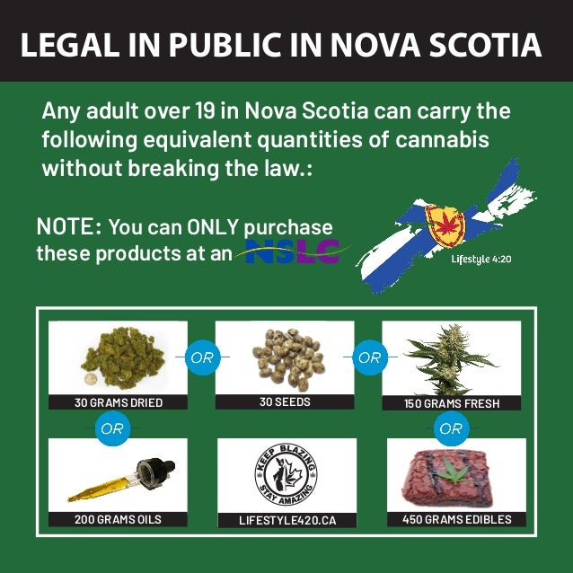 LEGAL IN PUBLIC IN NOVA SCOTIA Any adult over 19 in Nova Scotia can carry the following equivalent quantities of cannabis ...