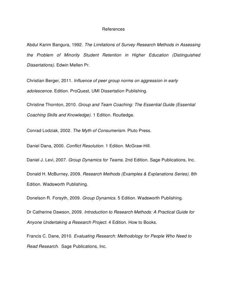 ReferencesAbdul Karim Bangura, 1992. The Limitations of Survey Research Methods in Assessingthe Problem of Minority Studen...