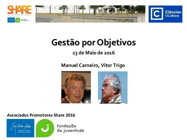 Gestão por ObjetivosGestão por Objetivos Associados Promotores Share 2016 23 de Maio de 2016 Manuel Carneiro, Vítor Trigo