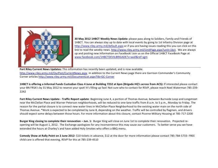 30 May 2012 1HBCT Weekly News Update: please pass along to Soldiers, Family and Friends of                                ...