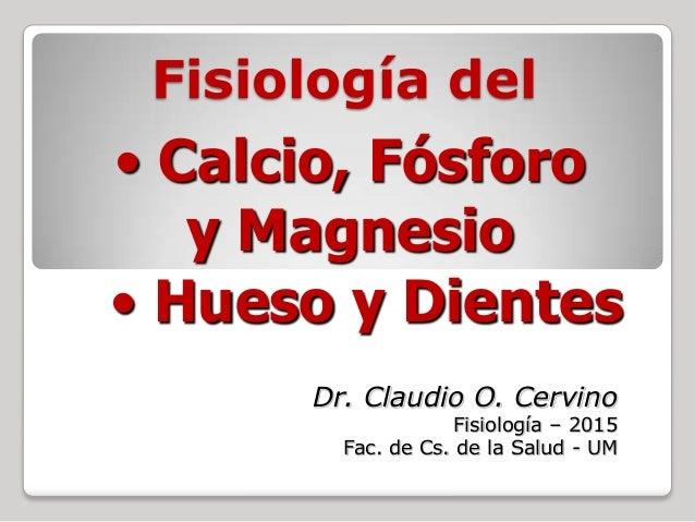 Fisiología del Dr. Claudio O. Cervino Fisiología – 2015 Fac. de Cs. de la Salud - UM • Hueso y Dientes • Calcio, Fósforo y...