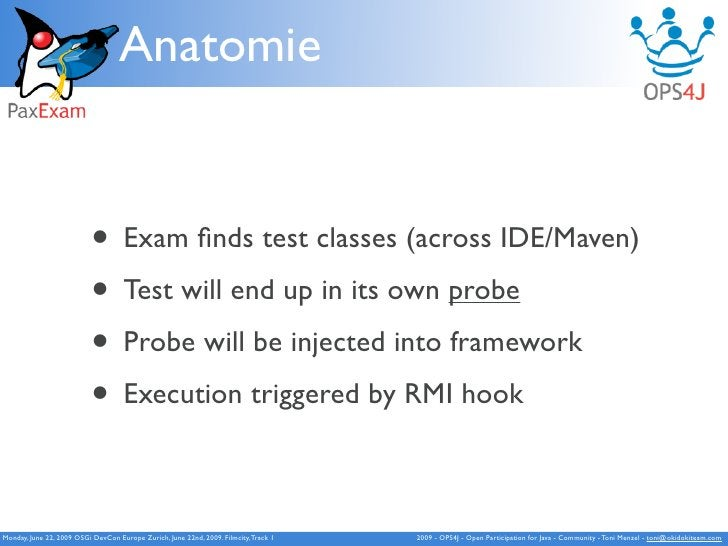 Anatomie                              • Exam finds test classes (across IDE/Maven)                            • Test will e...