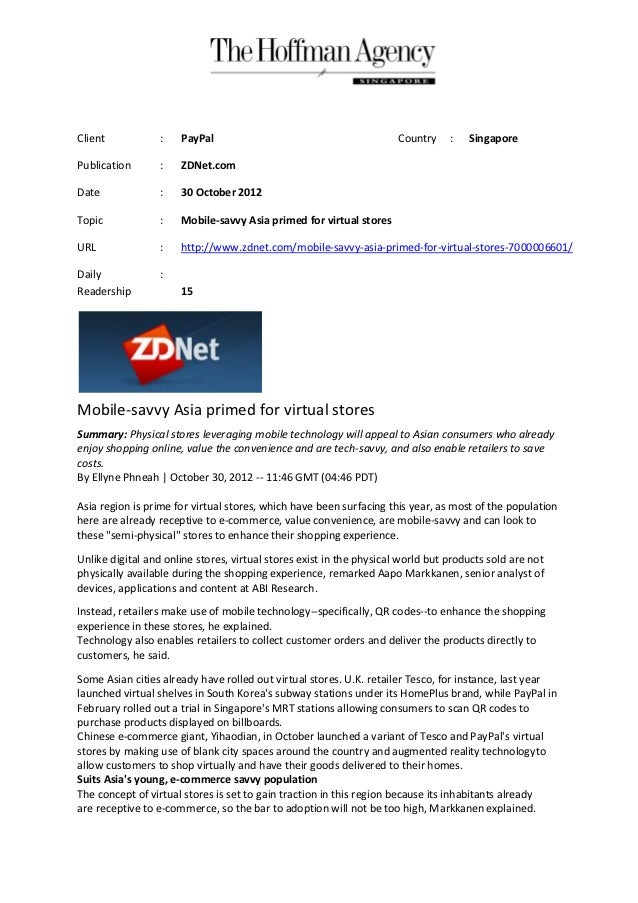 Client            :   PayPal                                          Country    :   SingaporePublication       :   ZDNet....