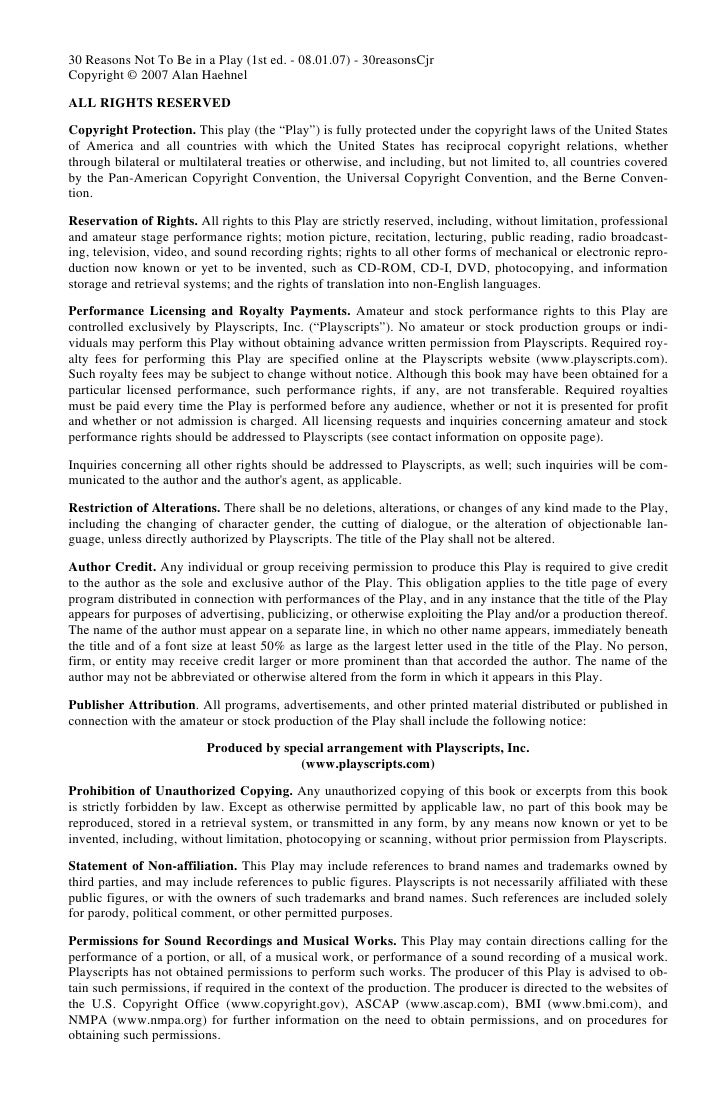 30 Reasons Not To Be in a Play (1st ed. - 08.01.07) - 30reasonsCjrCopyright © 2007 Alan HaehnelALL RIGHTS RESERVEDCopyrigh...