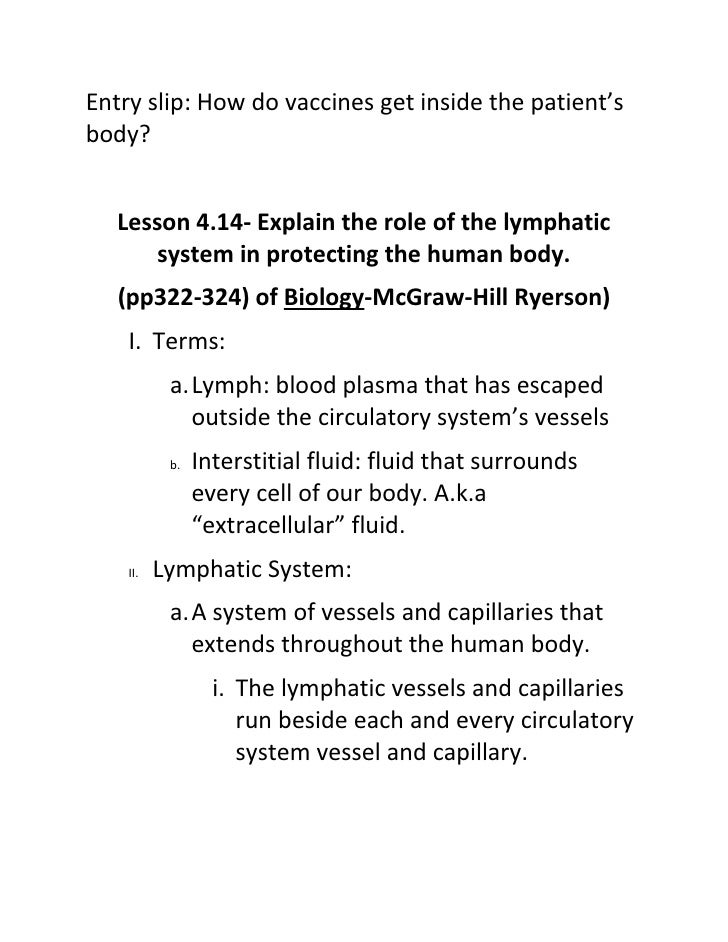 Entry slip: How do vaccines get inside the patient's body?      Lesson 4.14- Explain the role of the lymphatic        syst...