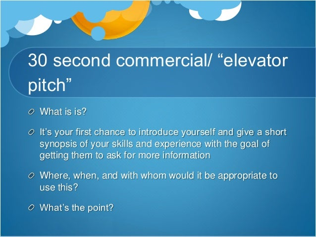 30 second pitch template - 30 second commercial elevator pitch