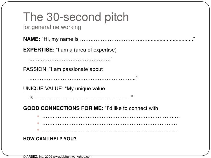 30 Second Pitch For General Networking