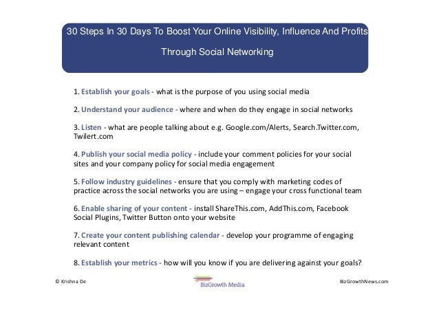 BizGrowthNews.com© Krishna De 1. Establish your goals - what is the purpose of you using social media 2. Understand your a...