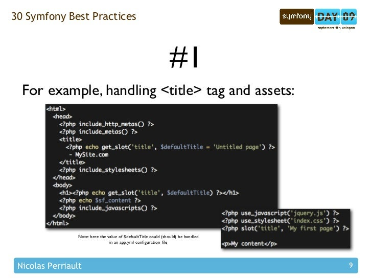 30 Symfony Best Practices                                                                   #1   For example, handling <ti...